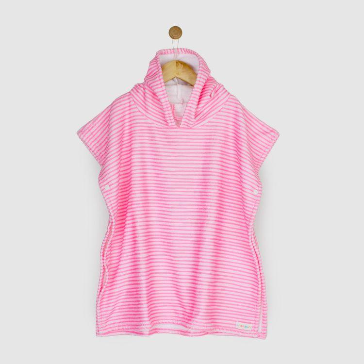 Kids-Badeponcho - Stripes-Pink