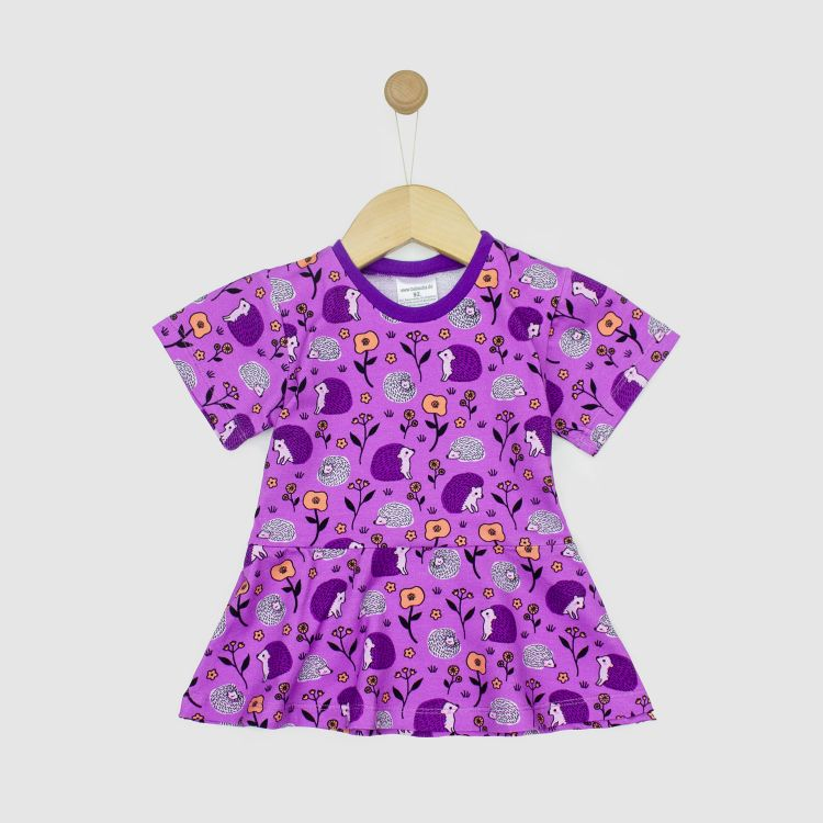 Kids-Kurzarm-Volantshirt - SweetHedgehogs-Purple