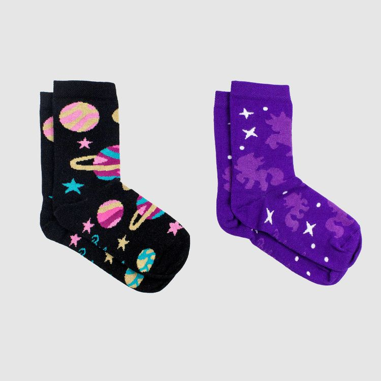 Kids-SockiSocks Kombo - Spacegirl/PurpleUnicorn