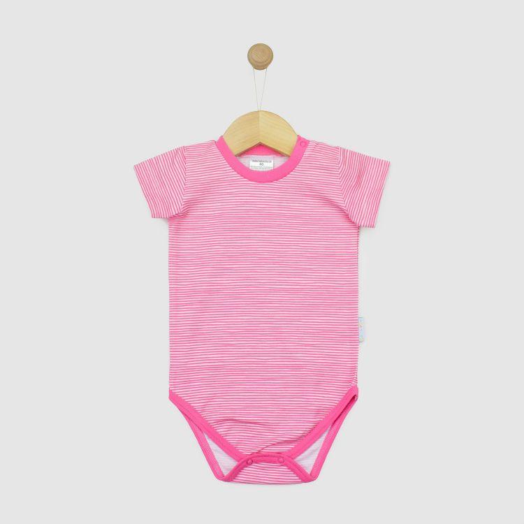 Kurzarmbody Stripes-Pink