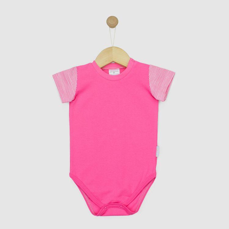 Uni-Kurzarmbody Mix Rosa/Stripes-Pink