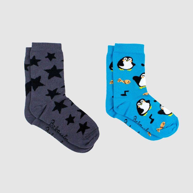 Kids-SockiSocks Kombo - NightSky-Grey/HappyPingu