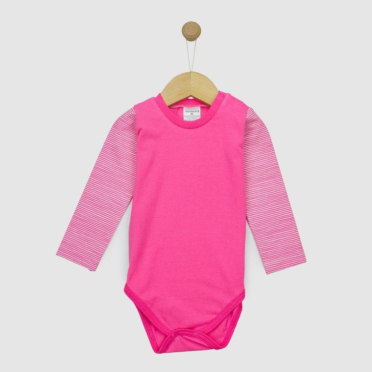 Uni-Langarmbody Mix Rosa/Stripes-Pink
