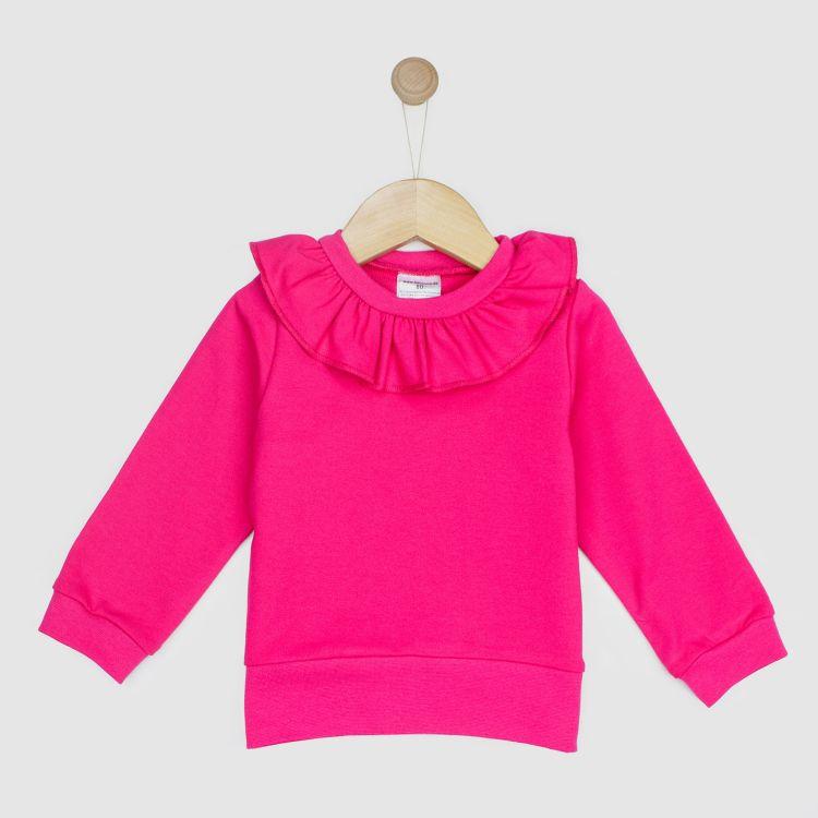 Uni-Sweater mit Volantkragen Cyklame