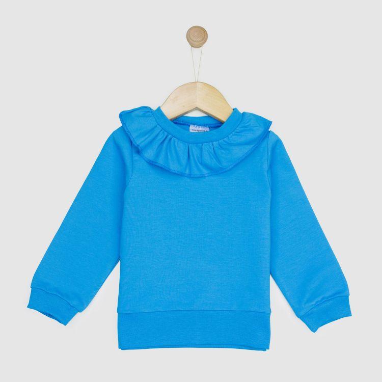Uni-Sweater mit Volantkragen Türkisblau