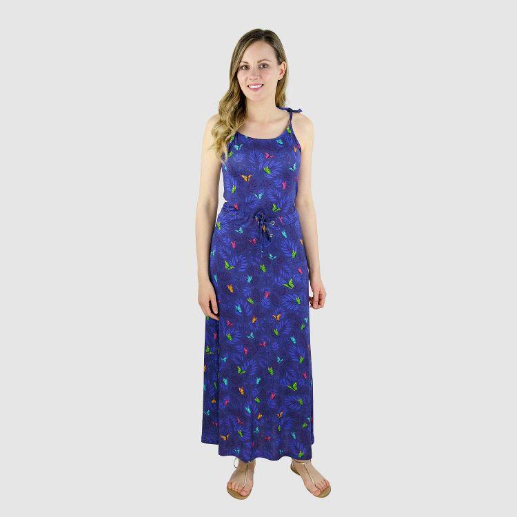 Woman-Long-Dress DreamyButterflies-Blue