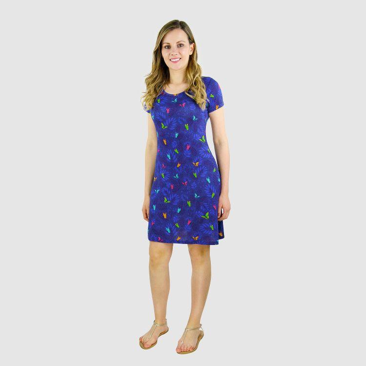 Woman-T-Shirt-Dress DreamyButterflies-Blue