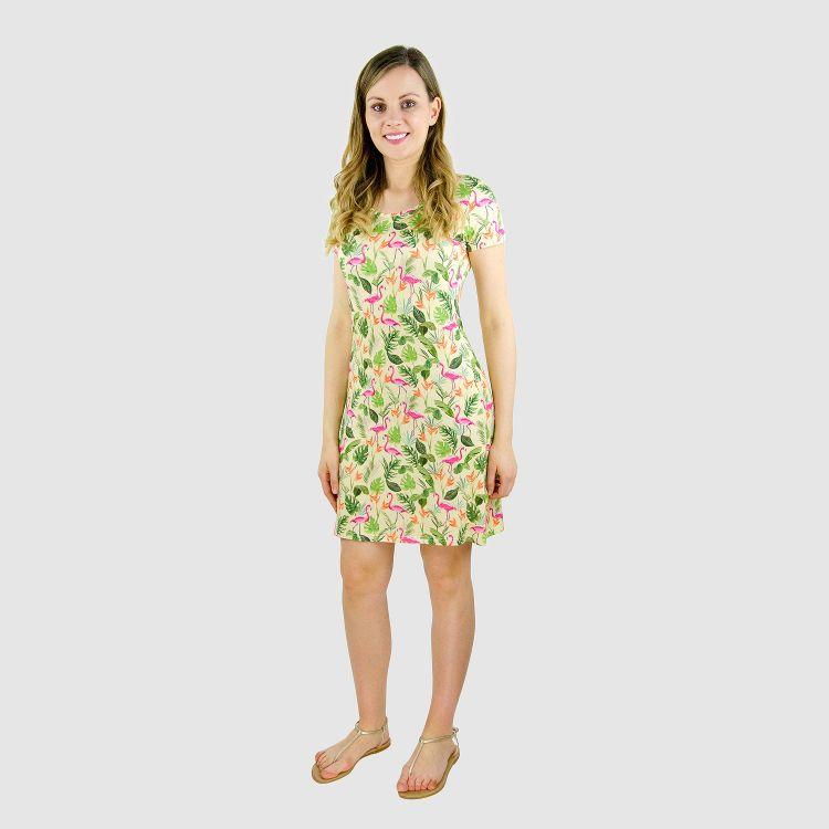 Woman-T-Shirt-Dress JungleFlamingo