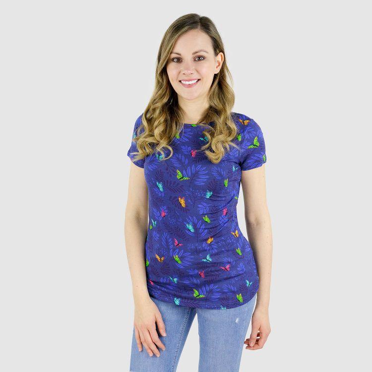 Viskose-Woman-T-Shirt - DreamyButterflies-Blue