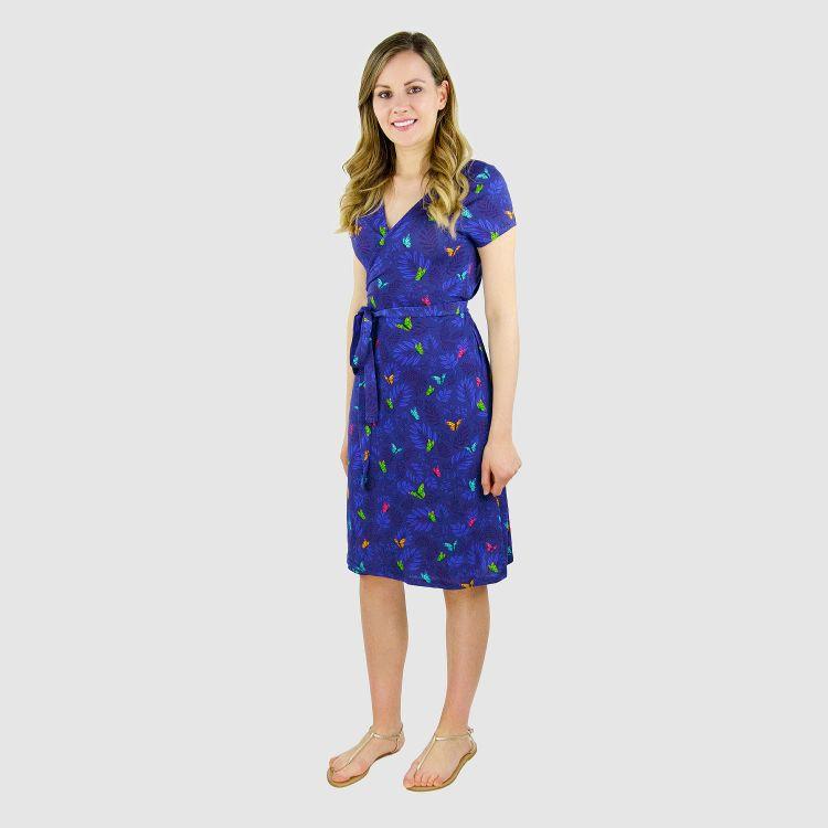 Woman-Wrap-Dress DreamyButterflies-Blue