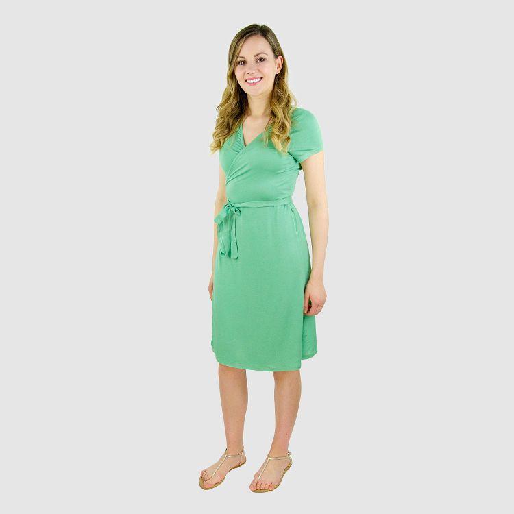 Woman-Wrap-Dress Lindgrün
