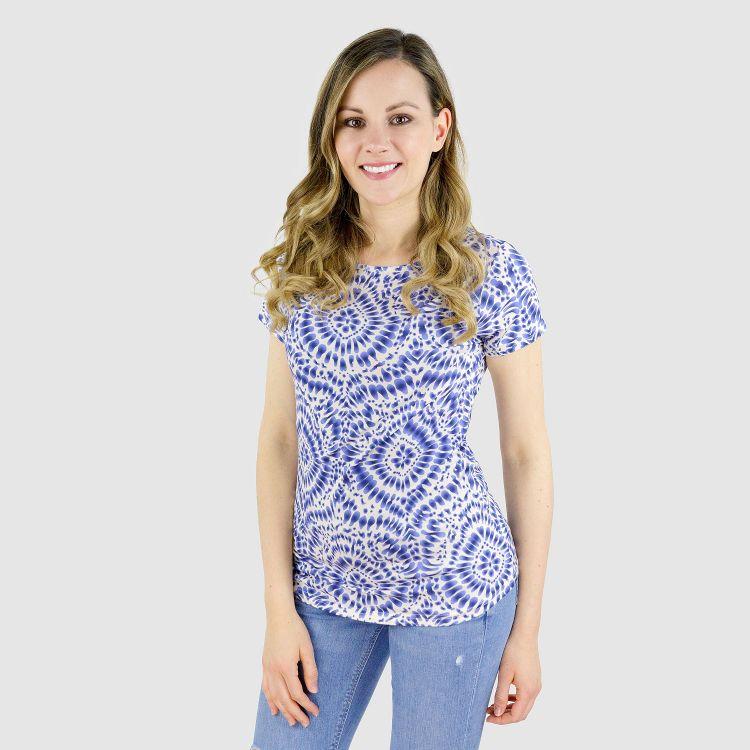 Viskose-Woman-T-Shirt - TieDye-Blue