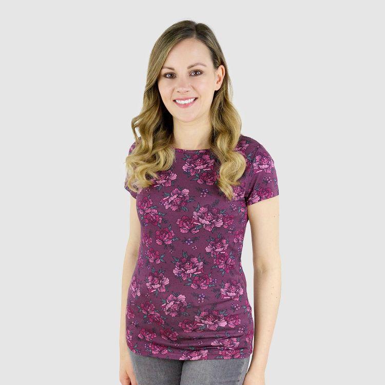 Viskose-Woman-T-Shirt BeautyFlowers-Aubergine