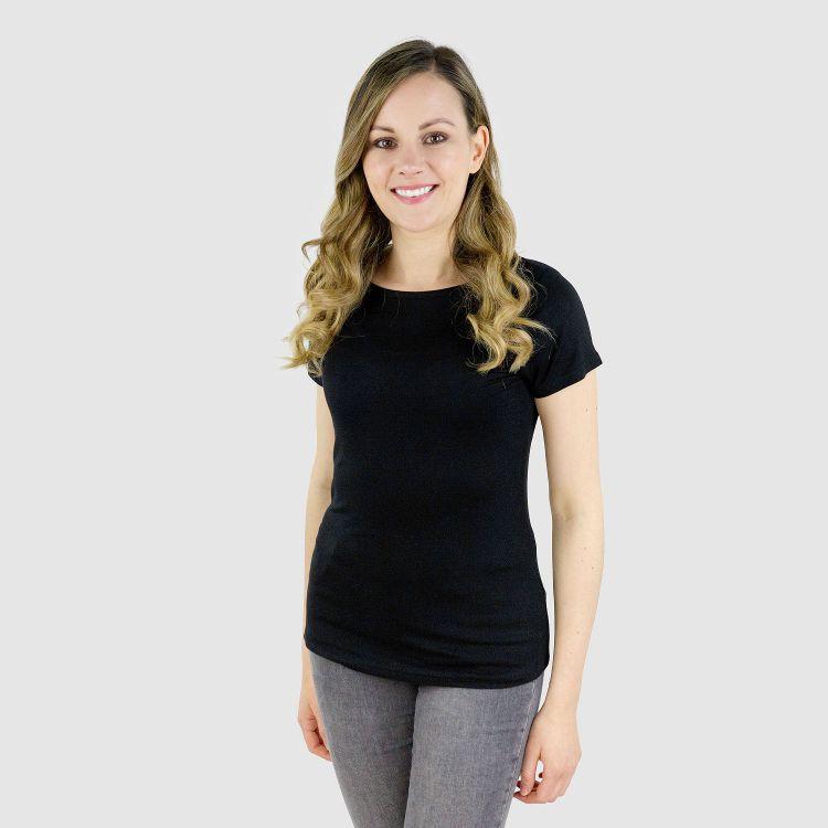 Viskose-Woman-T-Shirt Schwarz
