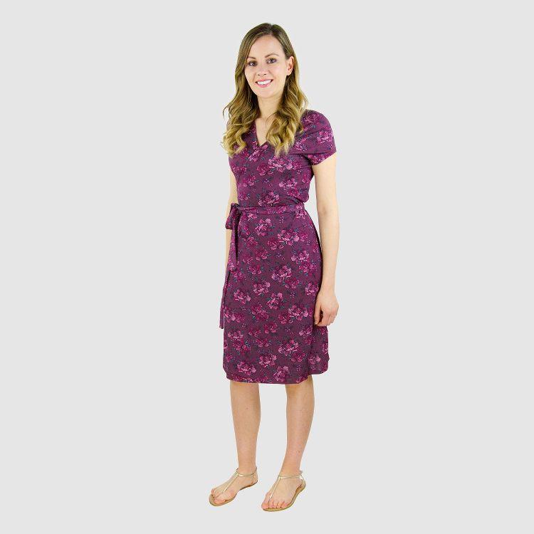 Woman-Wrap-Dress BeautyFlowers-Aubergine