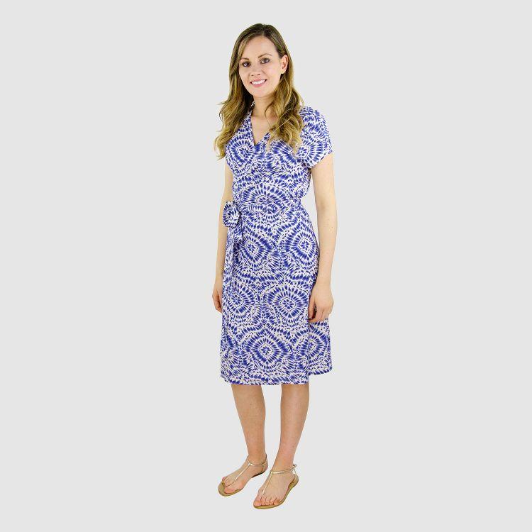 Woman-Wrap-Dress TieDye-Blue