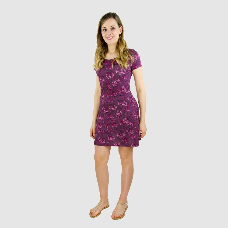 Woman-T-Shirt-Dress BeautyFlowers-Aubergine