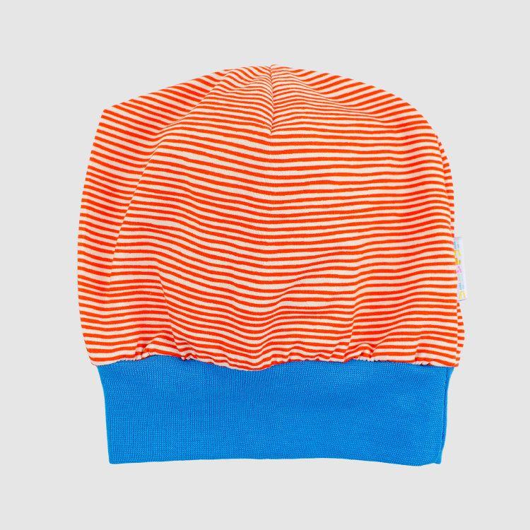 Beanie Stripes-RedCream-Türkisblau