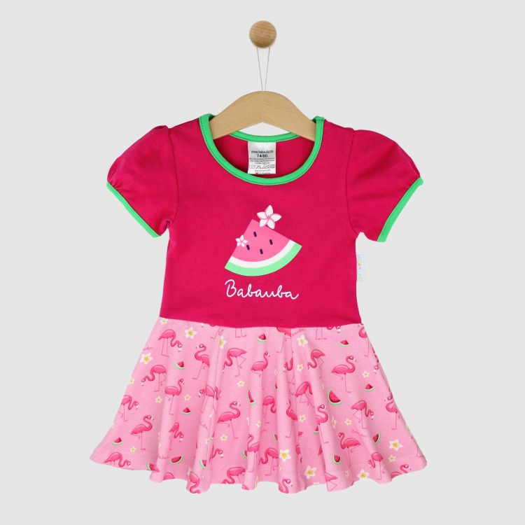 Motiv-Kurzarm-Drehkleidchen FlamingoFun