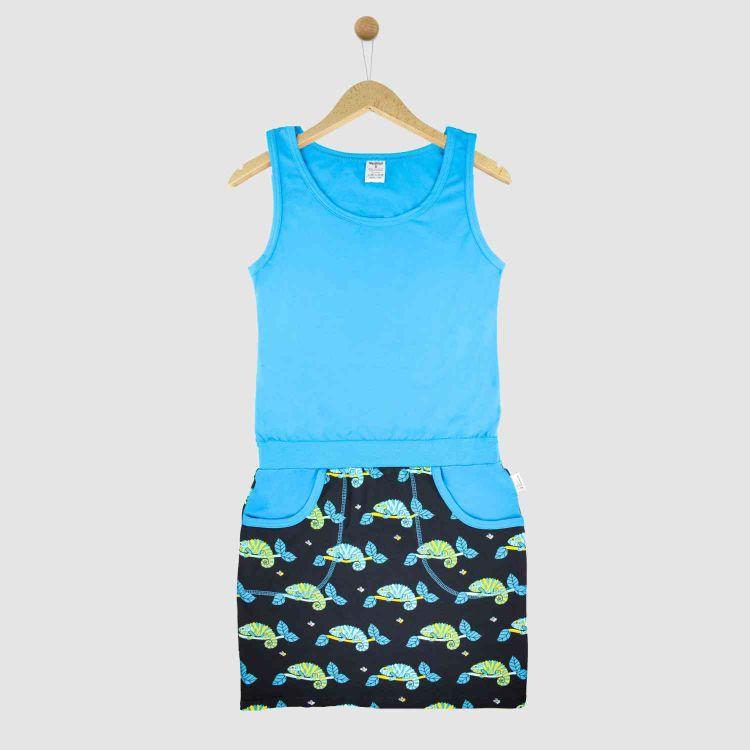 Woman-PocketDress ChameleonsOnTwigs-Black