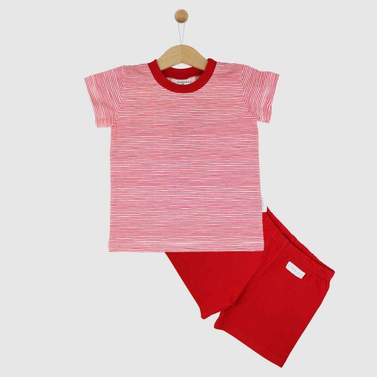 Pyjama-Set-Shortstyle Stripes-RedWhite