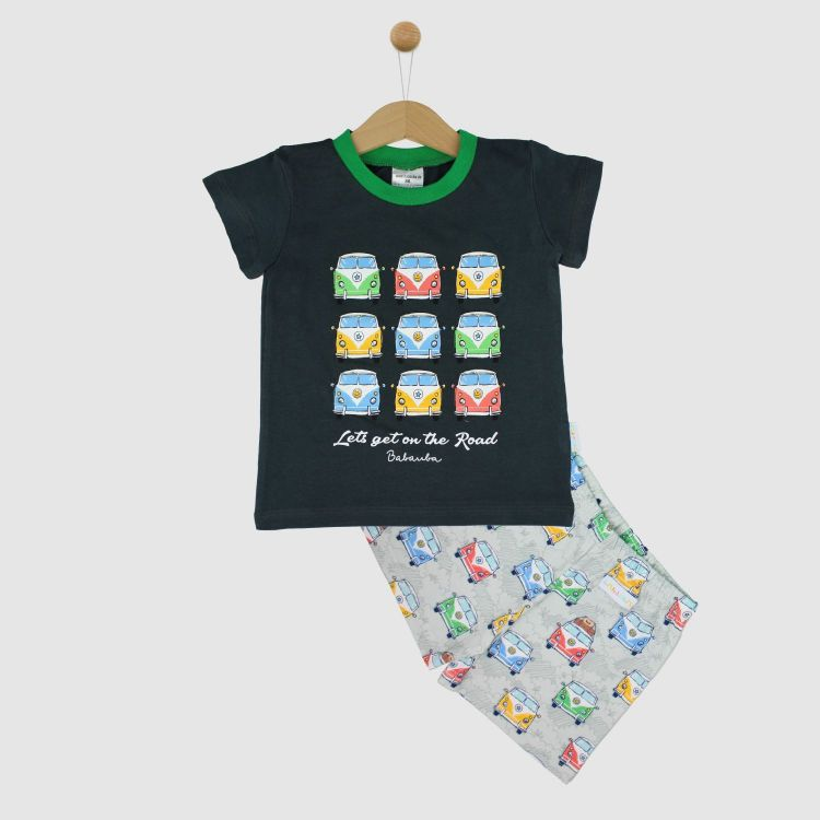 Motiv-Pyjama Set-Shortstyle HappyHippieBus-Grey