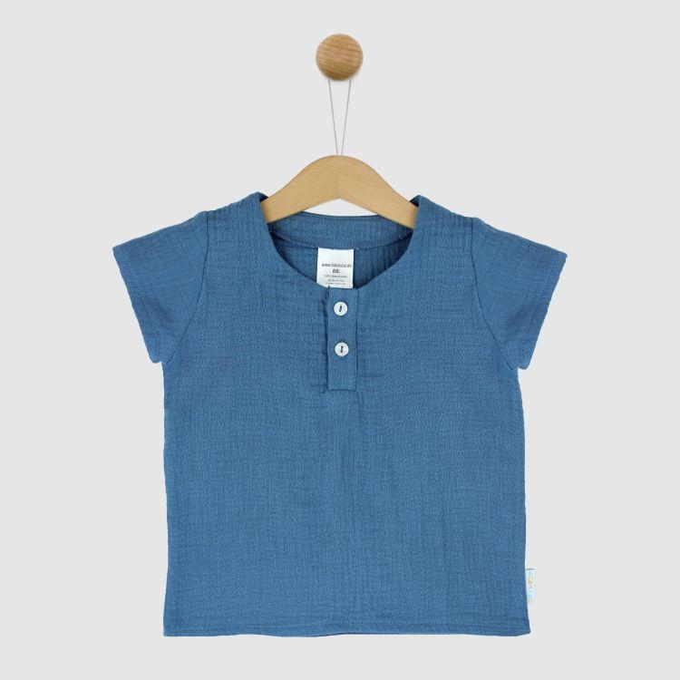 Musselin-Shirt Rauchblau