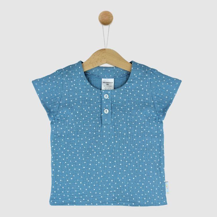 Musselin-Shirt AzurblauDots