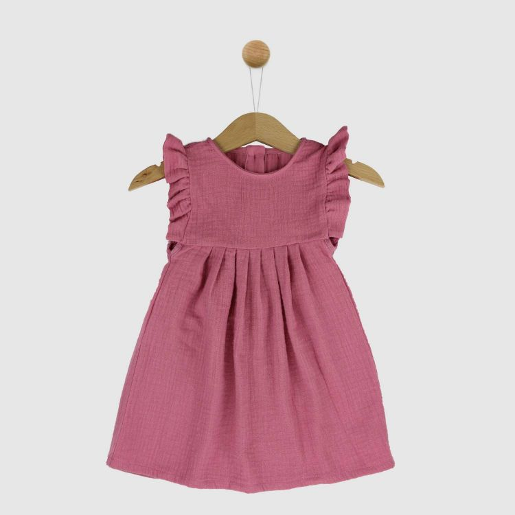 Musselin-Rüschen-Kleidchen Antikrosa