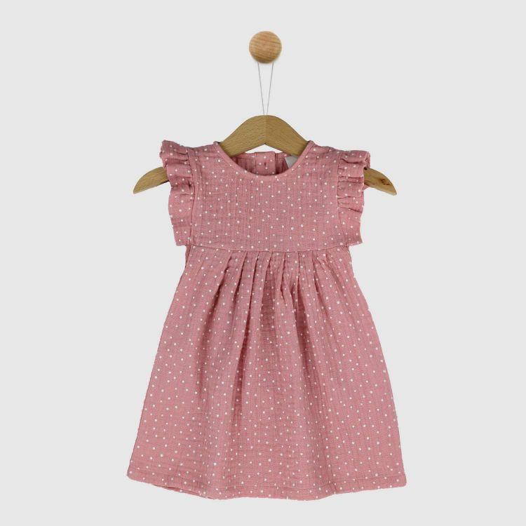 Musselin-Rüschen-Kleidchen RosaDots