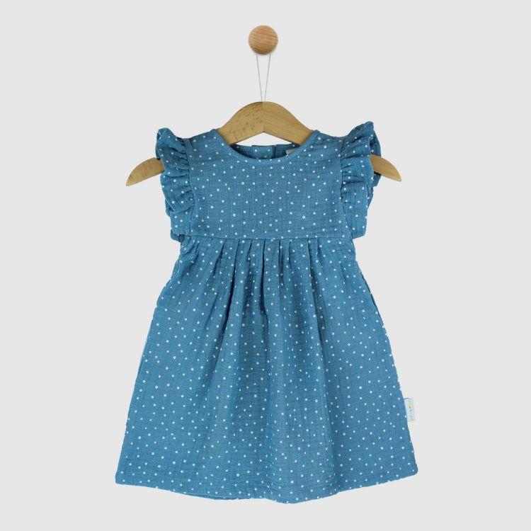 Musselin-Rüschen-Kleidchen AzurblauDots