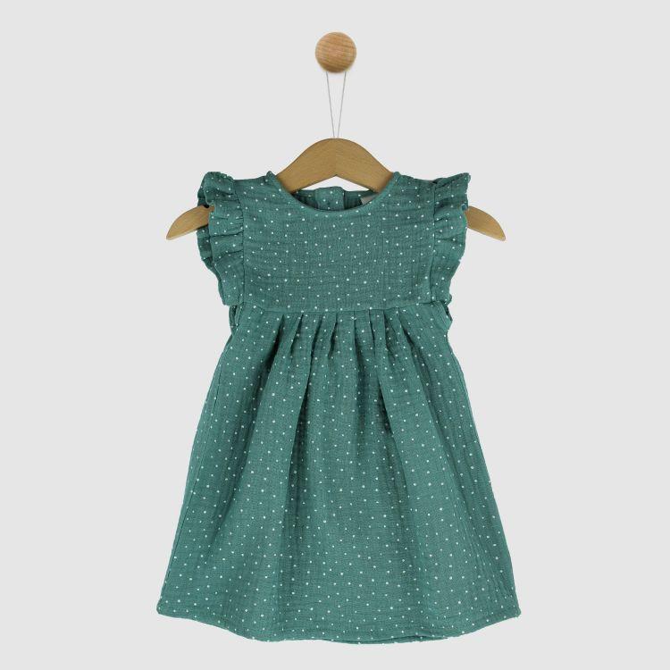 Musselin-Rüschen-Kleidchen MintgreenDots