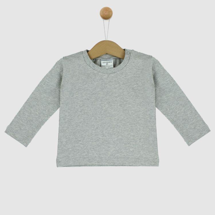Uni-Langarmshirt Grau-Meliert
