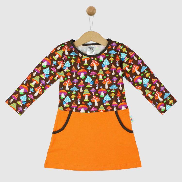 Langarm-PocketDress ColorfulMushrooms-Brown
