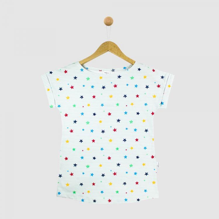 CasualWomanShirt 2.0 RainbowStars-GreyStripes