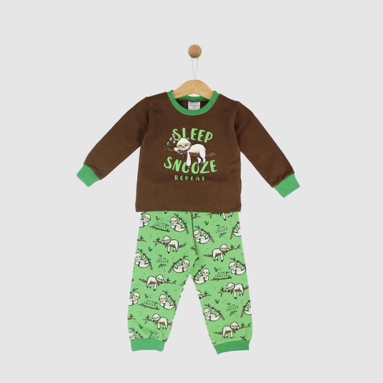 Motiv-Pyjama-Set FulltimeChiller-Brown