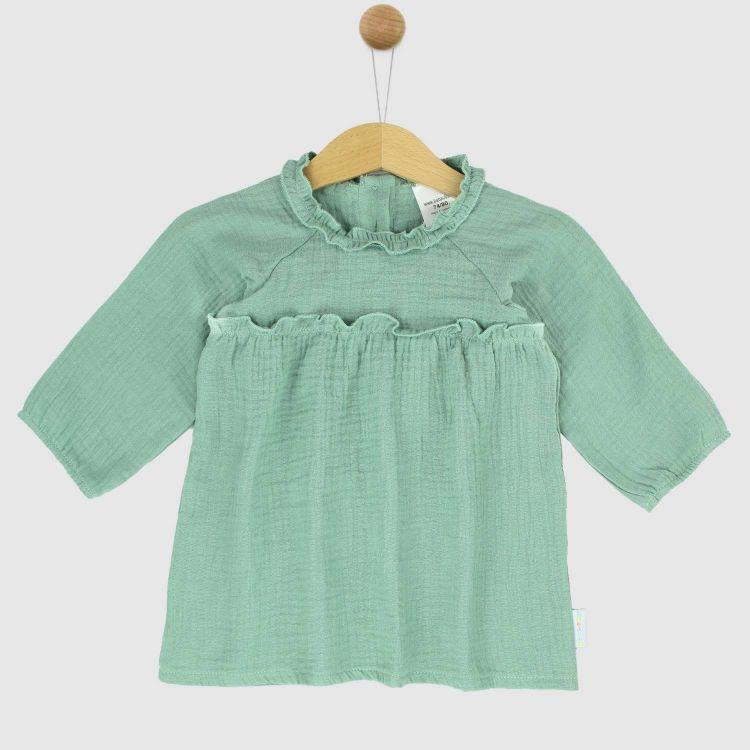 Musselin-Langarm-Kleidchen Mintgreen