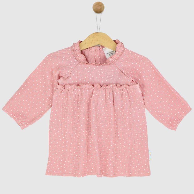 Musselin-Langarm-Kleidchen RosaDots