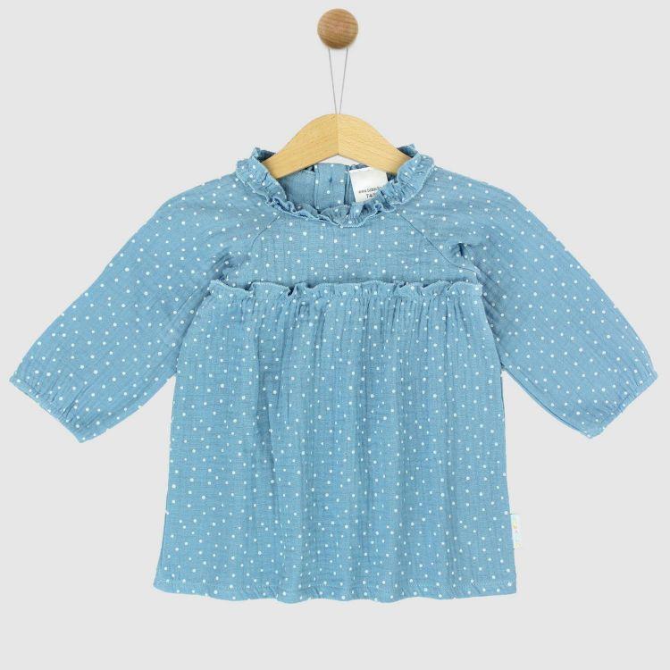Musselin-Langarm-Kleidchen AzurblauDots