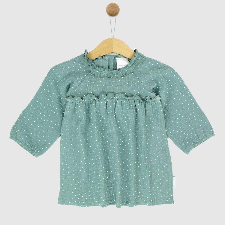 Musselin-Langarm-Kleidchen MintgreenDots