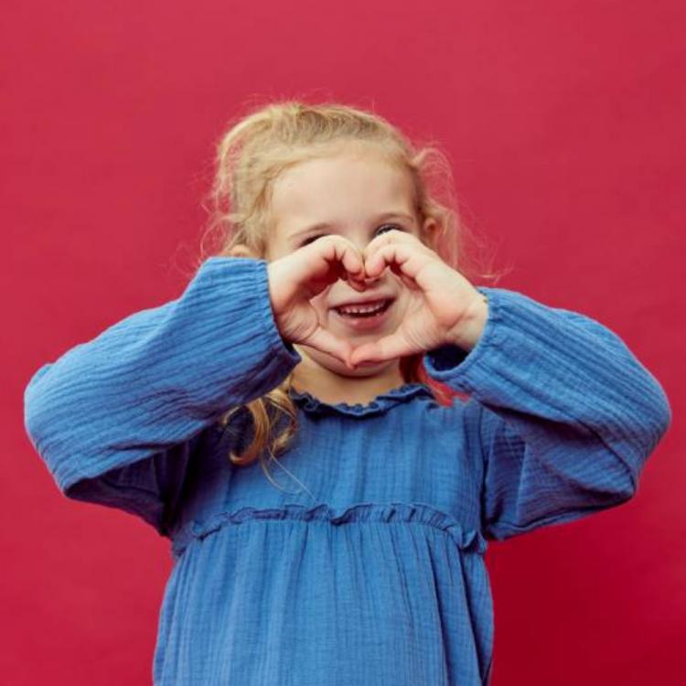 Musselin-Langarm-Kleidchen Rauchblau