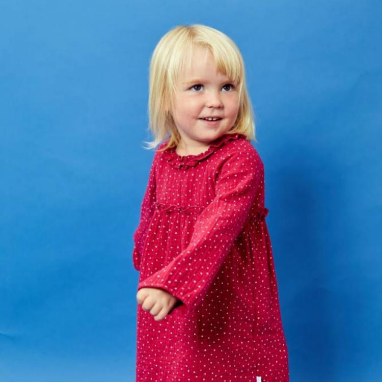 Musselin-Langarm-Kleidchen PinkDots