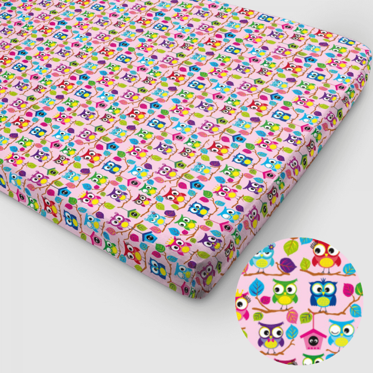 Jersey-Spannbettlaken BabaubaHoots-Pink 90 x 200