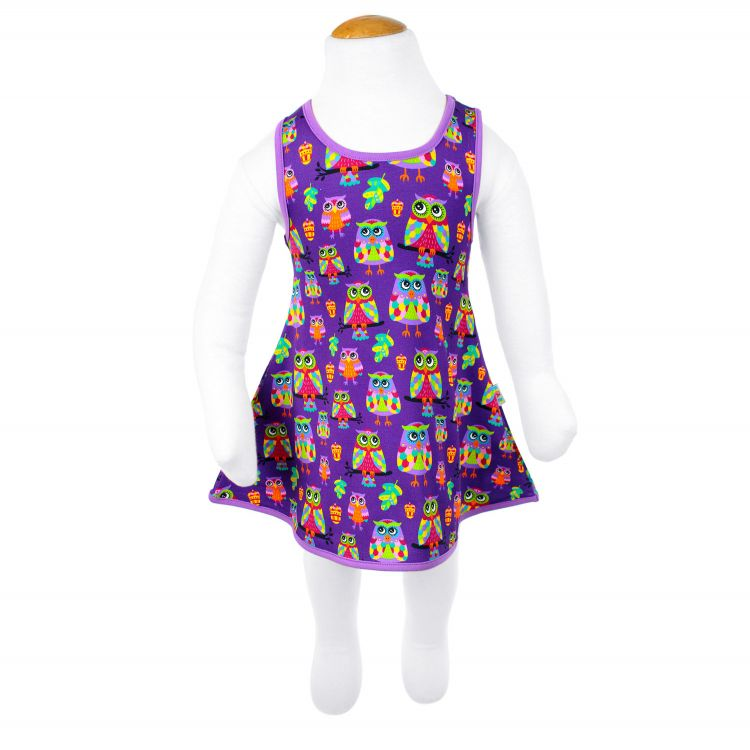 LittleMissSunshine-Dress ColorfulHoots-Purple