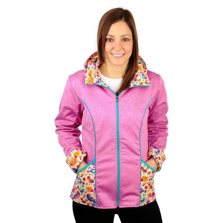 Woman-Softshelljacke ColorfulBirds-PinkEdition