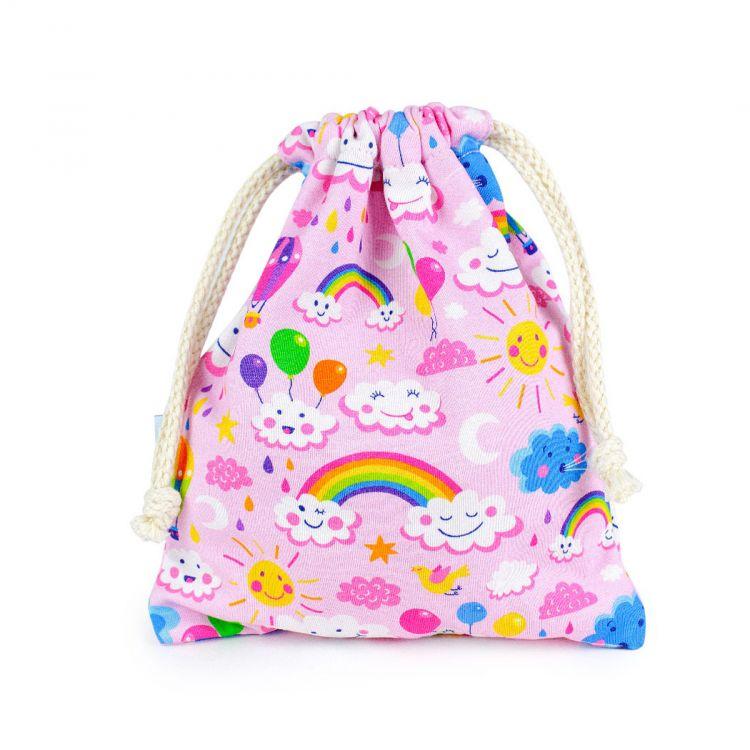KrimsKrams-Beutel Maxi RainbowsAndClouds-Pink