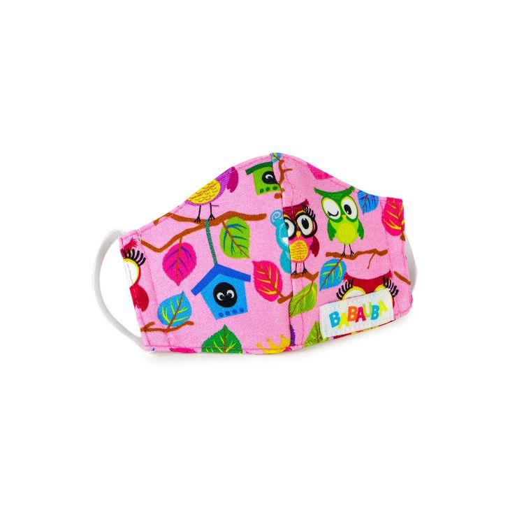 Mund- und Nasenmaske für Kinder mit Gummi - BabaubaHoots-Pink