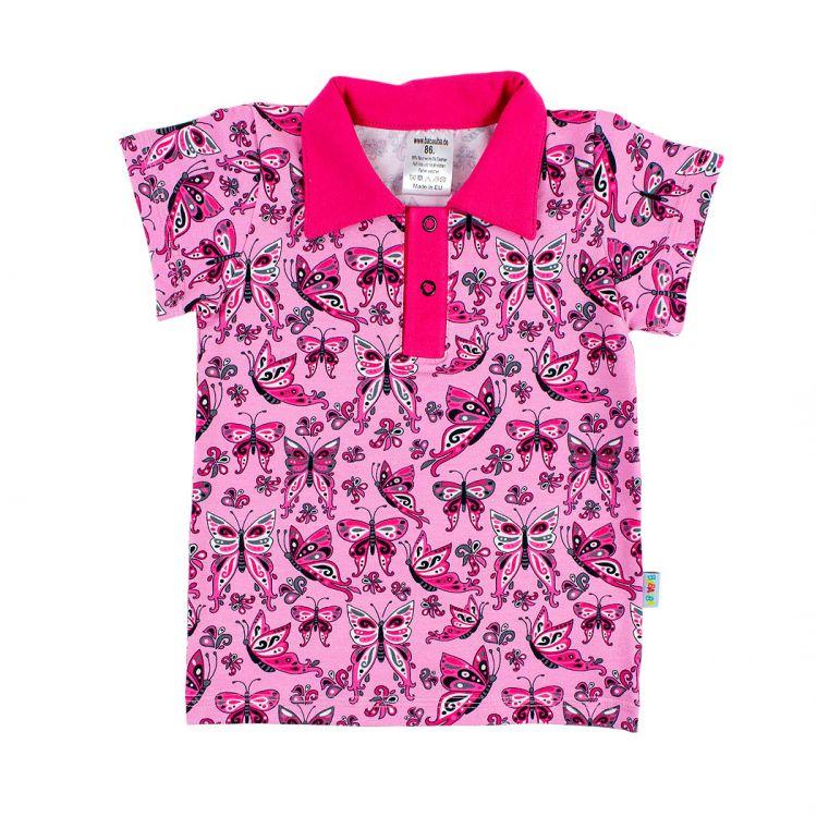 Poloshirt PrettyButterflies-PinkAndBlack