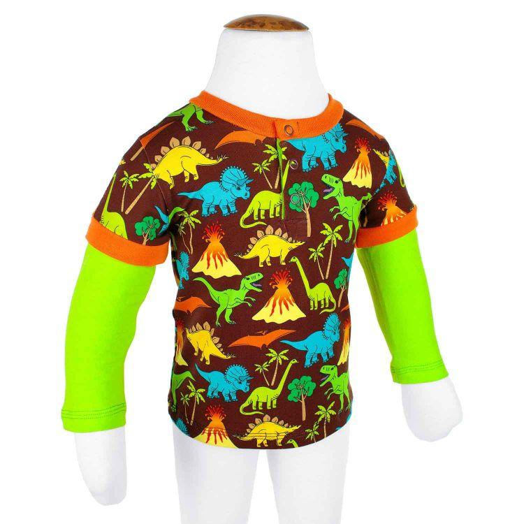 Langarm-T-Shirt DinosAndVolcanos-Brown