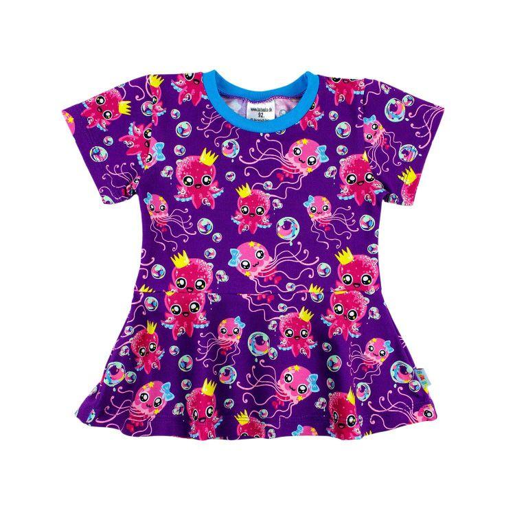 Kids-Kurzarm-Volantshirt - SweetOctopus-Purple